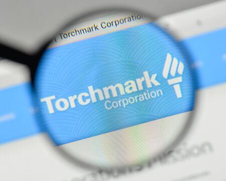 Milan, Italy - November 1, 2017: Torchmark logo on the website homepage.
