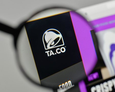 Milan, Italy - November 1, 2017: Taco Bell logo on the website homepage.
