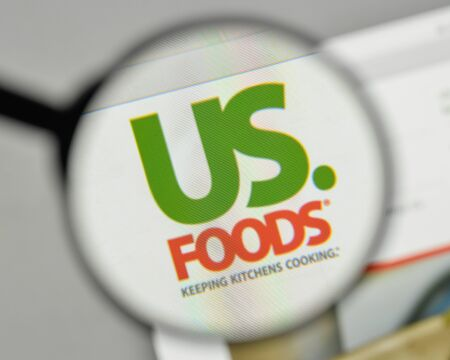 Milan, Italy - November 1, 2017: US Foods Holding logo on the website homepage.
