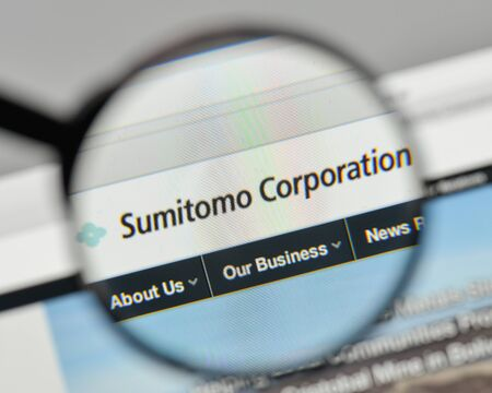 Milan, Italy - November 1, 2017: Sumitomo Conglomerate logo on the website homepage.