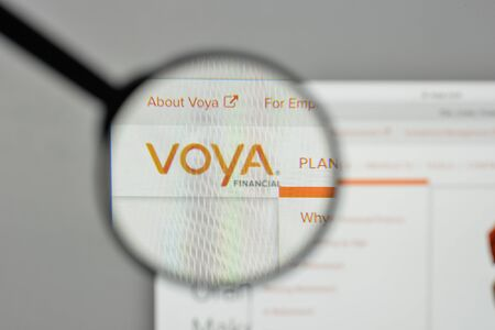 Milan, Italy - November 1, 2017: Voya Financial logo on the website homepage.