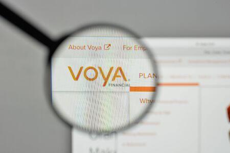Milan, Italy - November 1, 2017: Voya Financial logo on the website homepage.