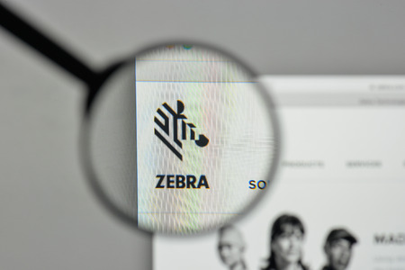 Milan, Italy - November 1, 2017: Zebra Technologies logo on the website homepage. Editorial