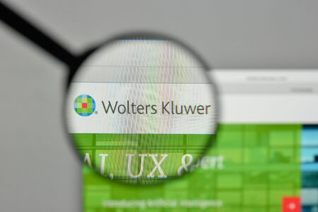 Milan, Italy - November 1, 2017: Wolters Kluwer NV logo on the website homepage.