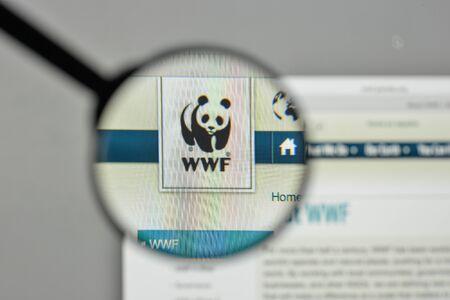 Milan, Italy - November 1, 2017: wwf logo on the website homepage.