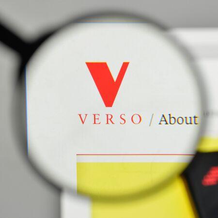 Milan, Italy - November 1, 2017: Verso logo on the website homepage.