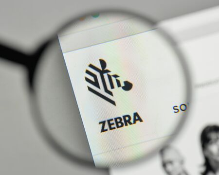 Milan, Italy - November 1, 2017: Zebra Technologies logo on the website homepage. Editorial