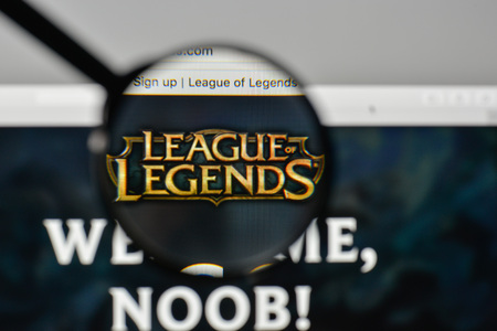 Milan, Italy - November 1, 2017: League of Legends logo on the website homepage.