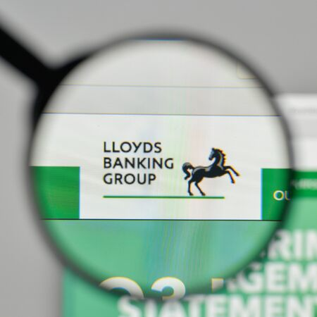 Milan, Italy - November 1, 2017: Lloyds Banking Group logo on the website homepage. Editorial