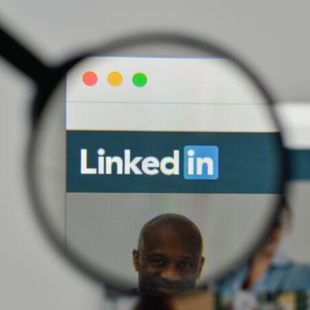 Milan, Italy - November 1, 2017: Linkedin logo on the website homepage. Editorial