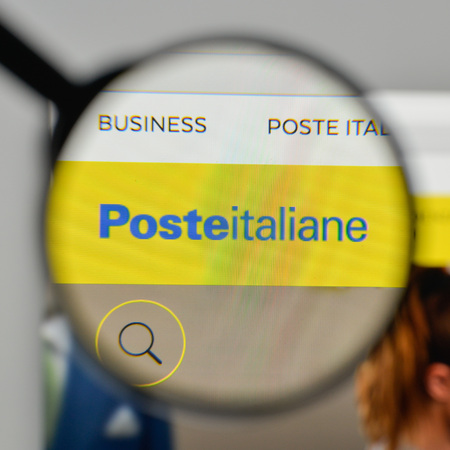 Milan, Italy - November 1, 2017: Poste Italiane logo on the website homepage. Editorial