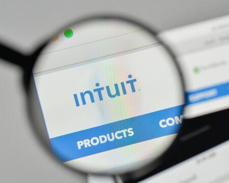 Milan, Italy - November 1, 2017: Intuit logo on the website homepage.
