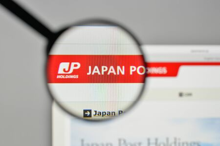 Milan, Italy - November 1, 2017: Japan Post Holdings logo on the website homepage.