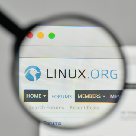 Milan, Italy - November 1, 2017: Linux logo on the website homepage.