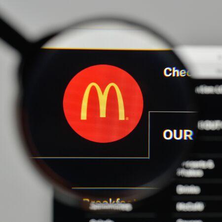 Milan, Italy - November 1, 2017: McDonalds logo on the website homepage. Editorial