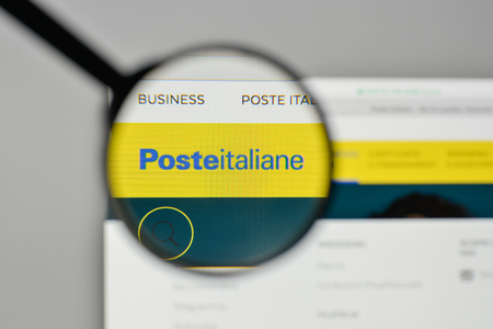 Milan, Italy - November 1, 2017: Poste Italiane logo on the website homepage. Editöryel