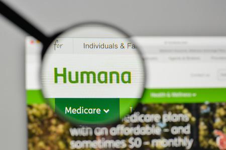 Milan, Italy - November 1, 2017: Humana logo on the website homepage.