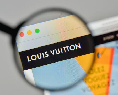 Milan, Italy - November 1, 2017: Louis Vuitton logo on the website homepage.