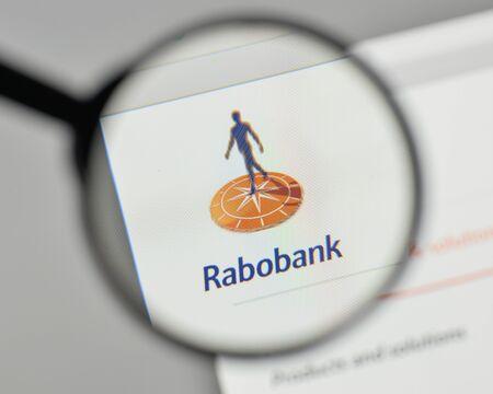 ミラノ、イタリア - 11月 1, 2017: ウェブサイトのホームページ上のラボバンクのロゴ. 報道画像