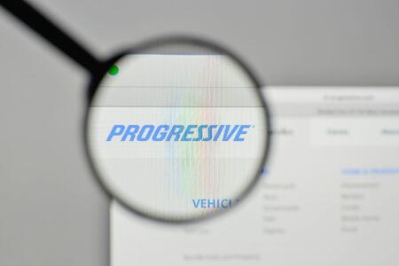 Milan, Italy - November 1, 2017: Progressive logo on the website homepage. Editorial