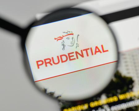 Milan, Italy - November 1, 2017: Prudential - UK logo on the website homepage.