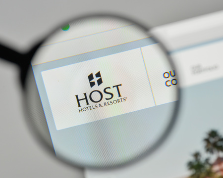 Milan, Italy - November 1, 2017: Host Hotels & Resorts logo on the website homepage.