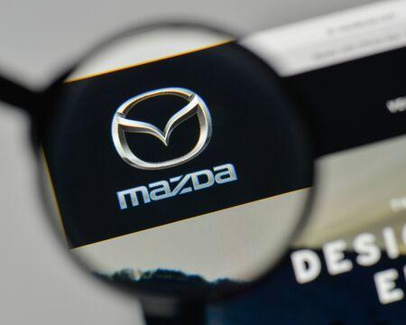 Milan, Italy - November 1, 2017: Mazda logo on the website homepage.