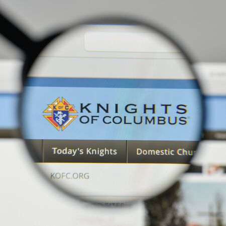 Milan, Italy - November 1, 2017: Knights of Columbus logo on the website homepage. Editorial