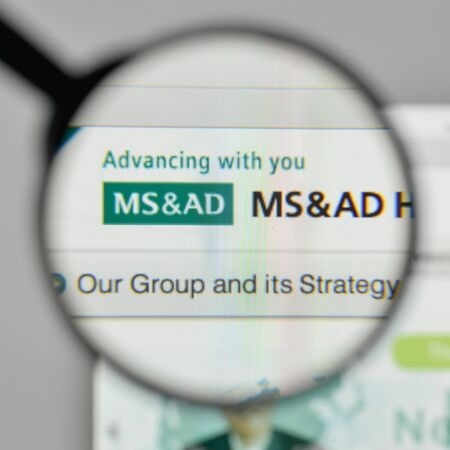 Milan, Italy - November 1, 2017: MS & AD Insurance Group Holdings logo on the website homepage. Editorial