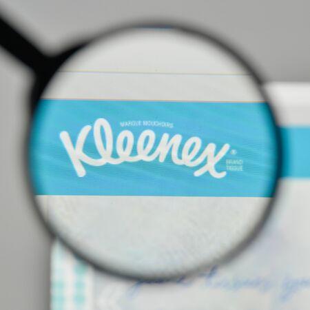 Milan, Italy - November 1, 2017: Kleenex logo on the website homepage.