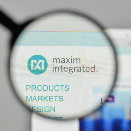 Milan, Italy - November 1, 2017: Maxim Integrated Products logo on the website homepage. Editorial