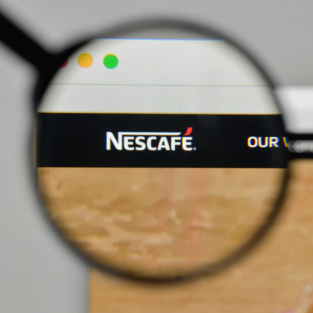 Milan, Italy - November 1, 2017: Nescafe logo on the website homepage. Editorial