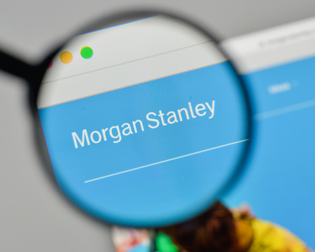 Milan, Italy - November 1, 2017: Morgan Stanley logo on the website homepage. 報道画像