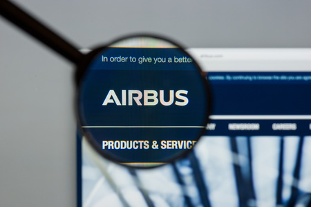 Milan, Italy - August 10, 2017: Airbus website. It is a European multinational corporation that designs, manufactures, and sells aeronautical products