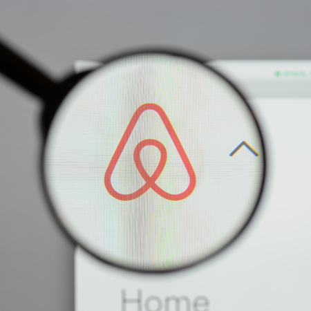 Milan, Italy - August 10, 2017: Airbnb website homepage. It is an online marketplace and hospitality service. Airbnb logo visible. Editorial
