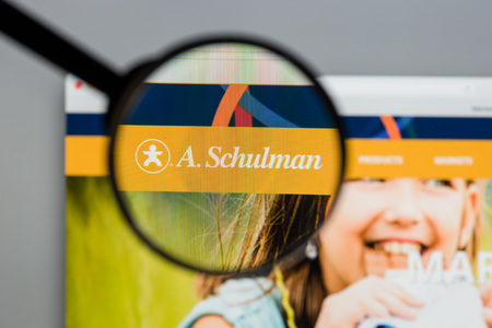 Milan, Italy - August 10, 2017: A Schulman website homepage. It is a global plastics supplier, headquartered in Fairlawn, Ohio. The company supplies plastic compounds and resins. A Schulman logo visible.