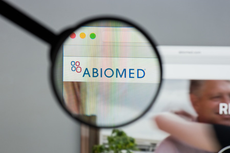 Milan, Italy - August 10, 2017: Abiomed website homepage. It is a manufacturer of medical implant devices, including the AbioCor artificial heart and Impella. Abiomed logo visible.