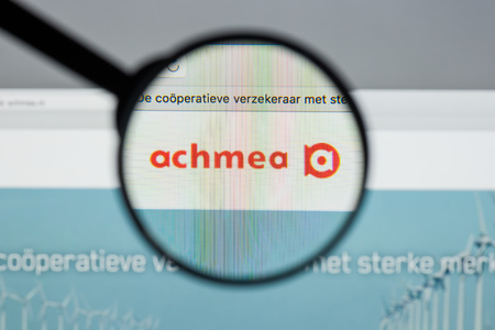 Milan, Italy - August 10, 2017: Achmea website homepage. It is one of the largest suppliers of financial services (mainly insurance) in the Netherlands. Achmea logo visible.