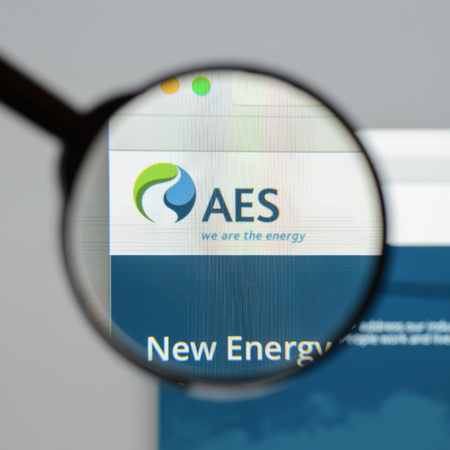Milan, Italy - August 10, 2017: AES website homepage. It is a Fortune 200 company that generates and distributes electrical power. AES logo visible.