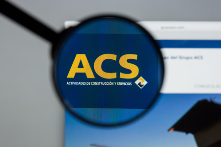 Milan, Italy - August 10, 2017: ACS website. It Actividades de Construcción y Servicios, is a Spanish company dedicated to civil and engineering construction. ACS logo visible.