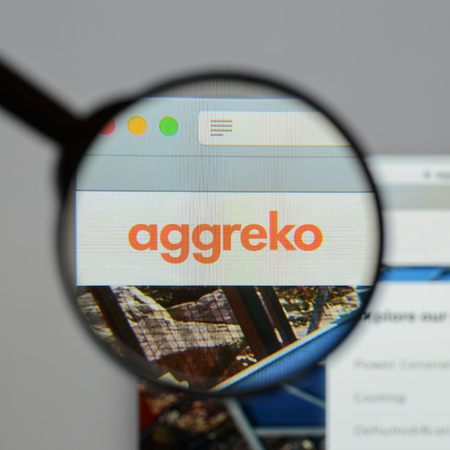 Milan, Italy - August 10, 2017: Aggreko website homepage. It is a supplier of temporary power generation equipment and of temperature control equipment. Aggreko logo visible.