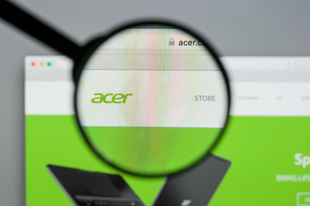 Milan, Italy - August 10, 2017: Acer website. It is a Taiwanese multinational hardware and electronics corporation specializing in advanced electronics technology. Acer logo visible. Editorial