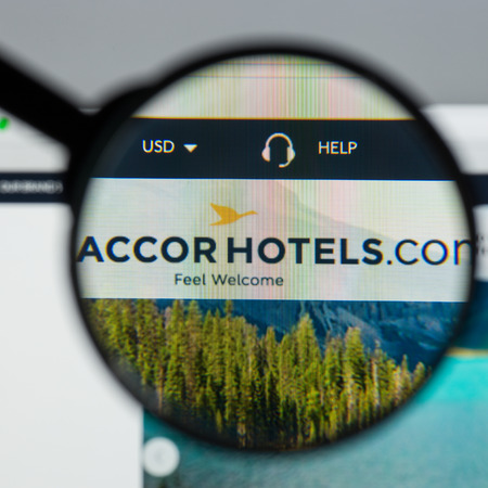 Milan, Italy - August 10, 2017: Accor website homepage. It is a French multinational hotel group. Accor hotels logo visible.