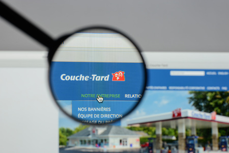 Milan, Italy - August 10, 2017: Alimentation Couche Tard website homepage. Couche Tard logo visible.