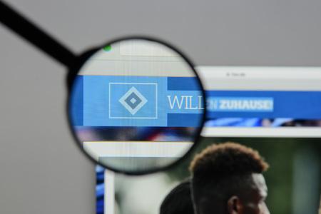 Milan, Italy - August 10, 2017: Hamburger SV website homepage. It is a German sport club based in Hamburg. HSV logo visible. Editorial