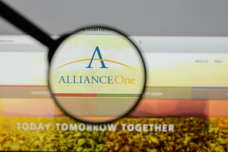 Milan, Italy - August 10, 2017: Alliance One International website homepage. It is an international storage, sales, distribution company. Alliance One logo visible.