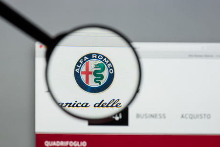 Milan, Italy - August 10, 2017: Alfa Romeo website homepage. It is an Italian car manufacturer. Alfa Romeo logo visible. Editorial