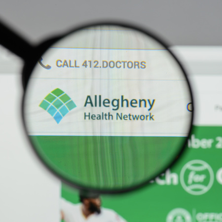 Milan, Italy - August 10, 2017: Allegheny health network website homepage. It is an academic medical center located in the Pittsburgh metropolitan area. Allegheny logo visible. Editorial