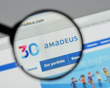 Milan, Italy - August 10, 2017: Amadeus IT Group website homepage. It is a major Spanish IT Provider for the global travel and tourism industry. Amadeus IT Group logo visible.