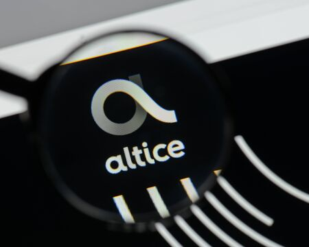 Milan, Italy - August 10, 2017: Altice  logo on the website homepage.